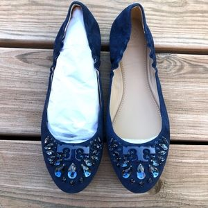 TORY BURCH Delphine Suede Crystal Logo Ballet Flat